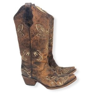 Circle G Western Butterfly Boots Embroidered 6
